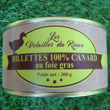 Rillettes 100% canard au foie gras du Rieux